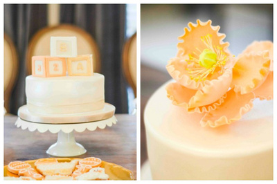 peach white baby shower cake
